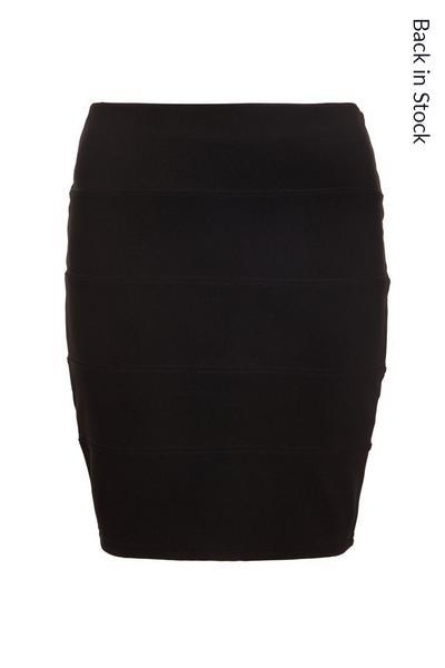 Black Ribbed Bodycon Skirt